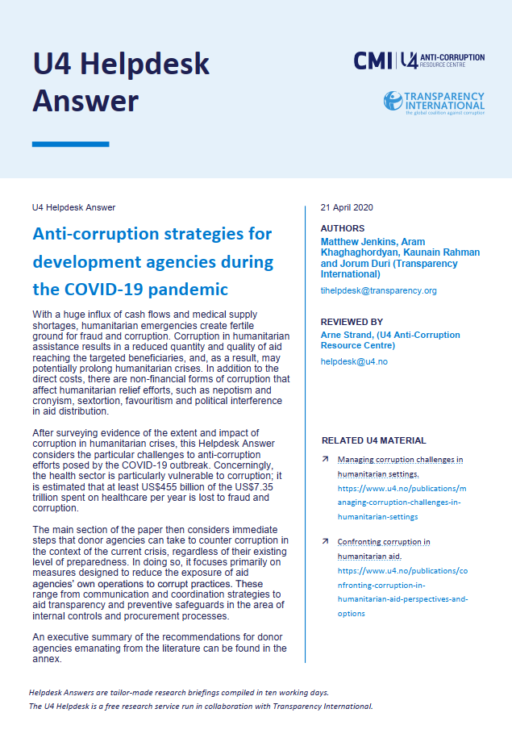 Anti-corruption strategies for development agencies during the COVID-19 pandemic