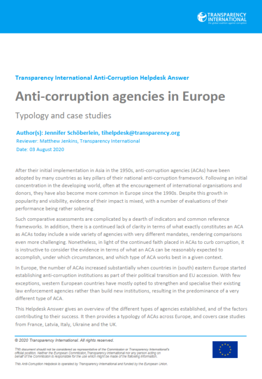 Anti-corruption agencies in Europe