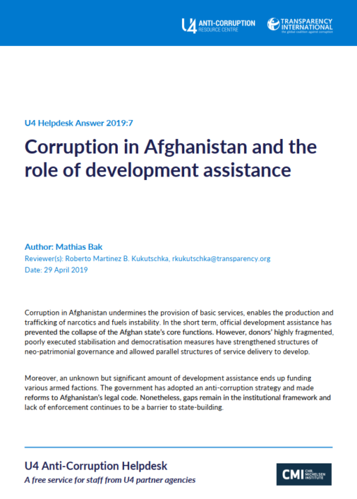 Corruption in Afghanistan and the role of development assistance