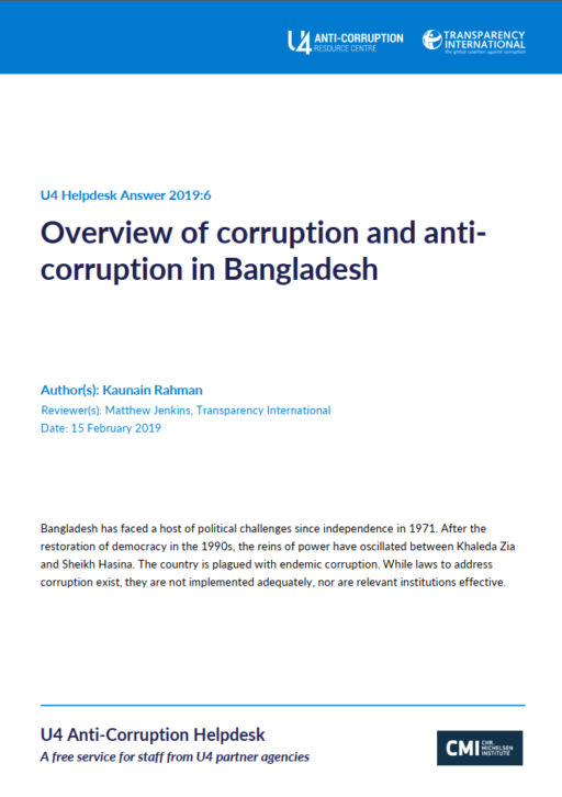 Bangladesh: Overview of corruption and anti-corruption efforts