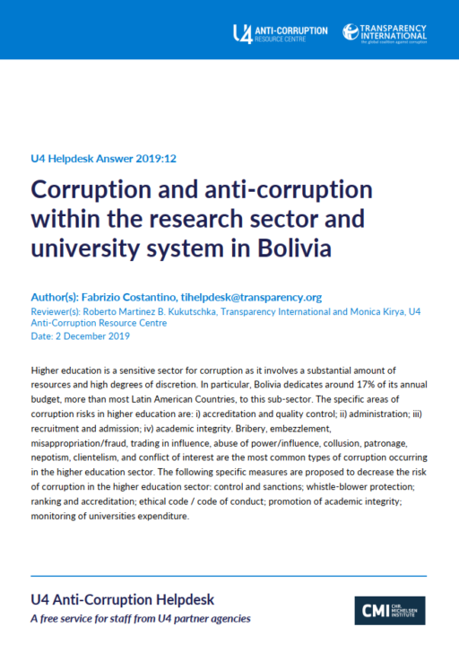 Corruption and anti-corruption within the research sector and university system in Bolivia