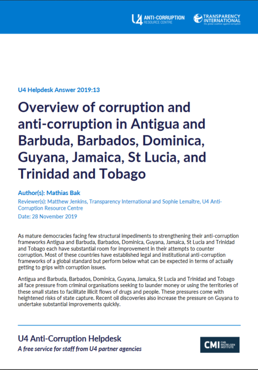 Overview of corruption and anti corruption in Antigua and Barbuda, Bahamas, Barbados, Dominica, Guyana, Jamaica, St Lucia, and Trinidad and Tobago