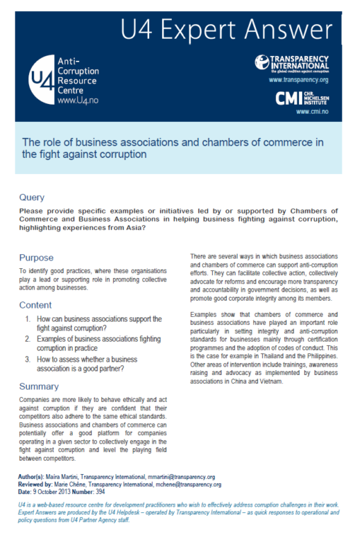 The role of business associations and chambers of commerce in the fight against corruption