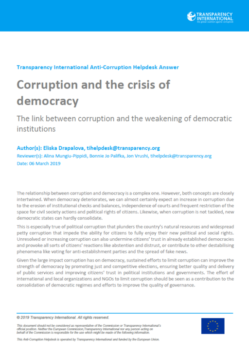 Corruption and the crisis of democracy