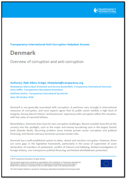 Denmark: Overview of Corruption and Anti-Corruption