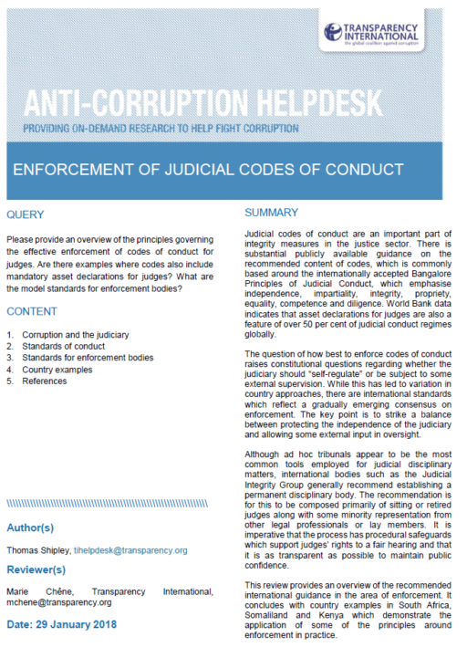 Enforcement of judicial codes of conduct