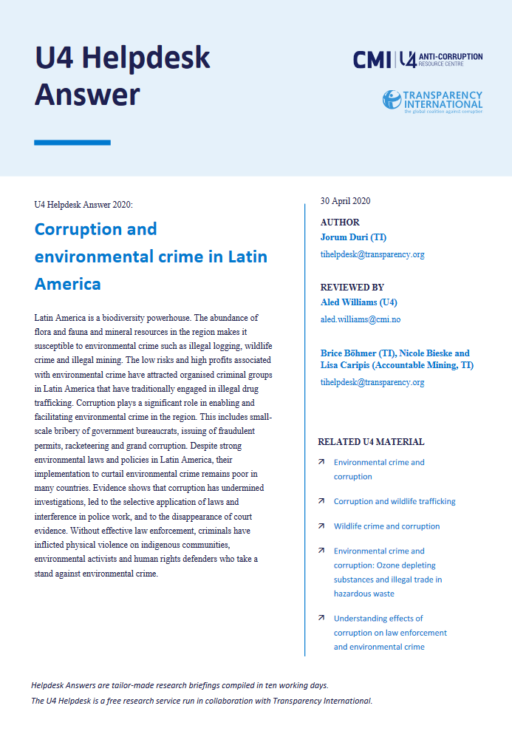 Corruption and environmental crime in Latin America