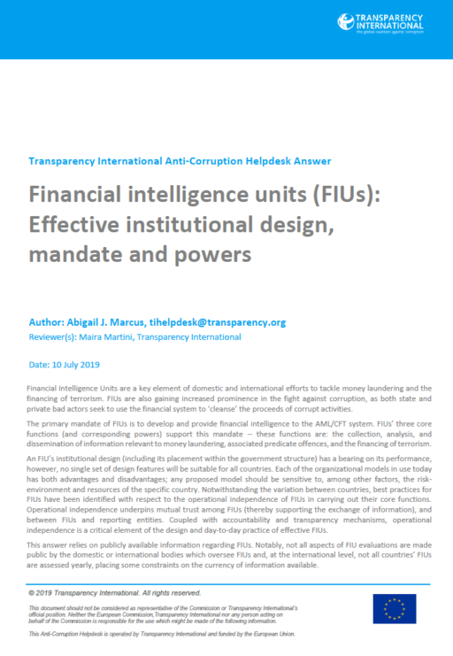 Financial intelligence units (FIUs): Effective institutional design, mandate and powers