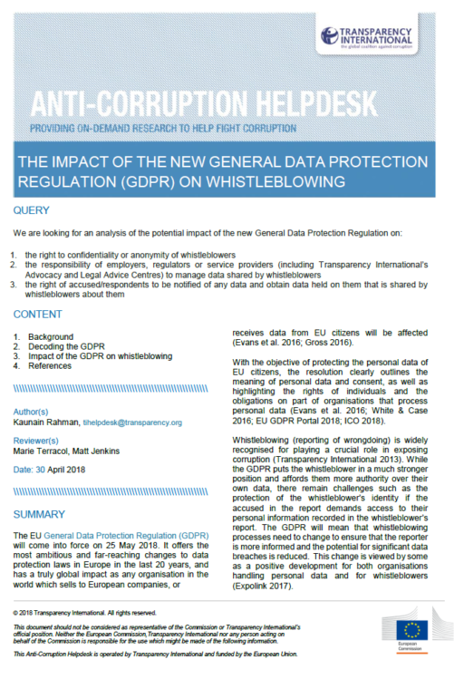 The impact of the General Data Protection Regulation on whistleblowing