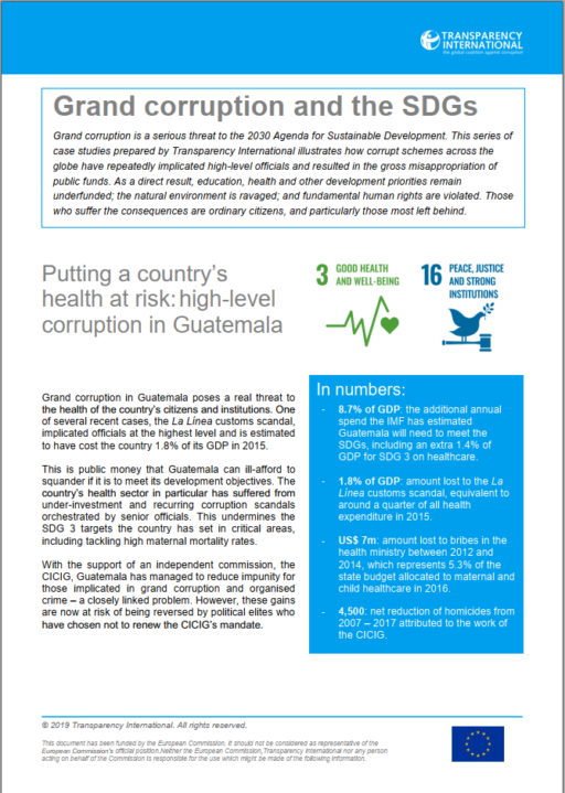 Grand Corruption and the SDGs - Putting a country's health at risk: high-level corruption in Guatemala