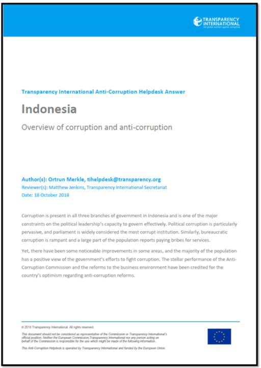 Indonesia: Overview of Corruption and Anti-Corruption
