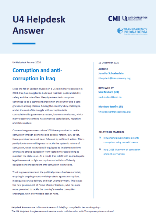 Overview of corruption and anti-corruption in Iraq
