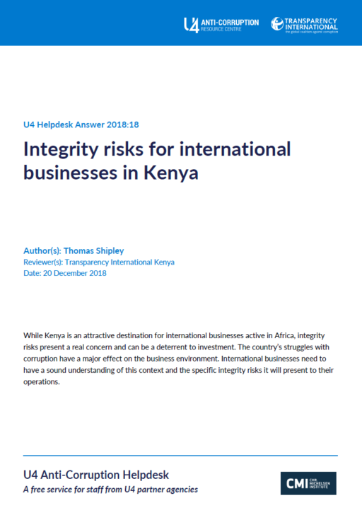 Integrity risks for international businesses in Kenya