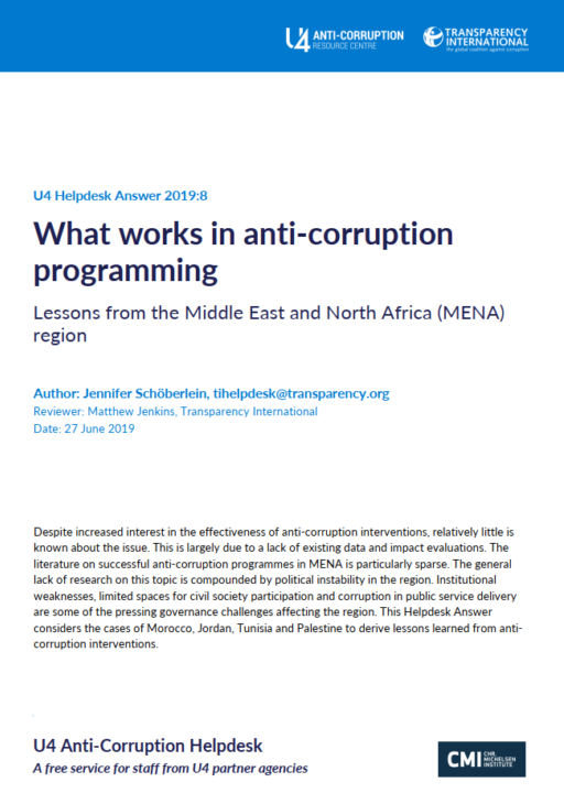 What works in anti-corruption programming: Lessons from the Middle East and North Africa region