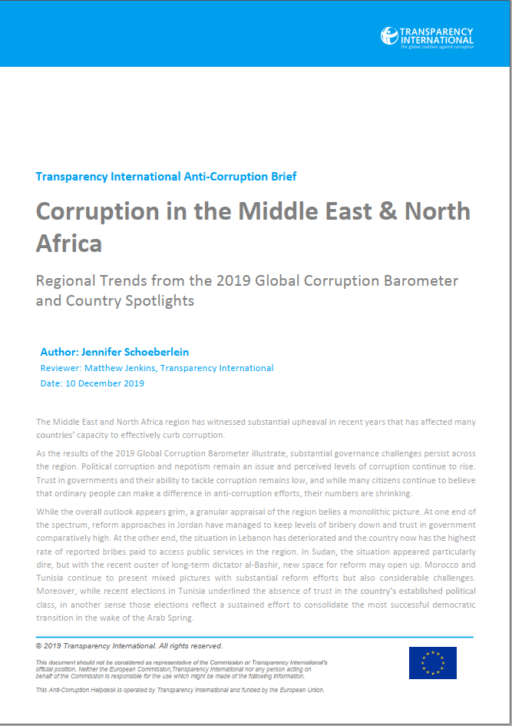 Corruption in the Middle East and North Africa: Regional Trends and Country Spotlights from the 2019 Global Corruption Barometer