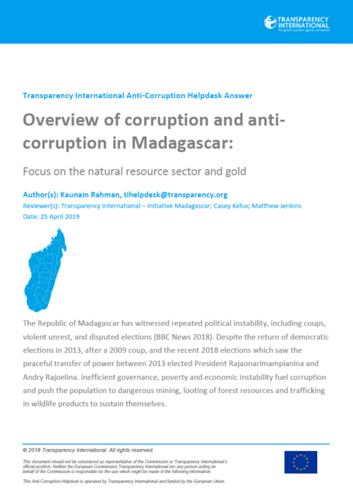 Overview of corruption and anti-corruption in Madagascar