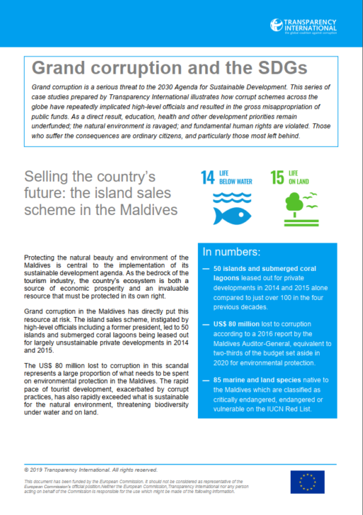 Grand Corruption and the SDGs - Selling the country's future: the island sales scheme in the Maldives