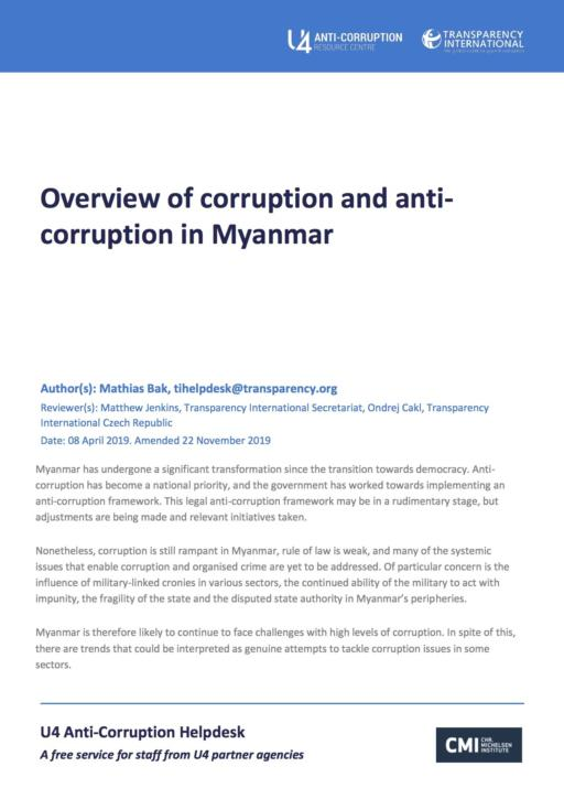 Overview of corruption and anti-corruption in Myanmar