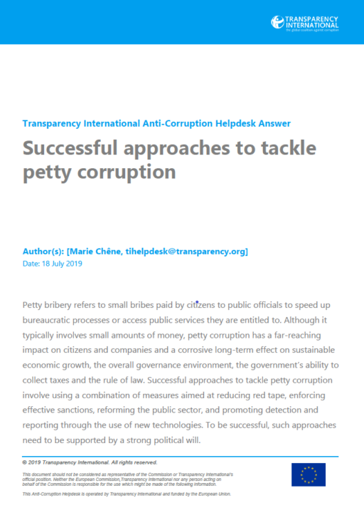 Successful approaches to tackle petty corruption