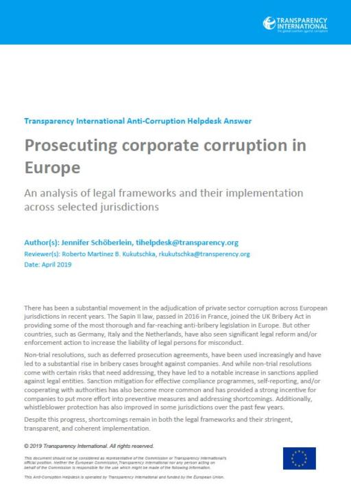 Prosecuting corporate corruption in Europe: An analysis of legal frameworks and their implementation across selected jurisdictions
