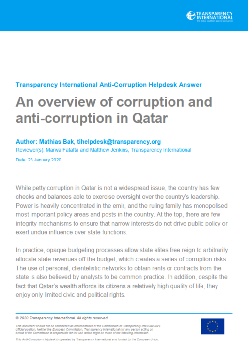 Qatar: an overview of corruption and anti-corruption