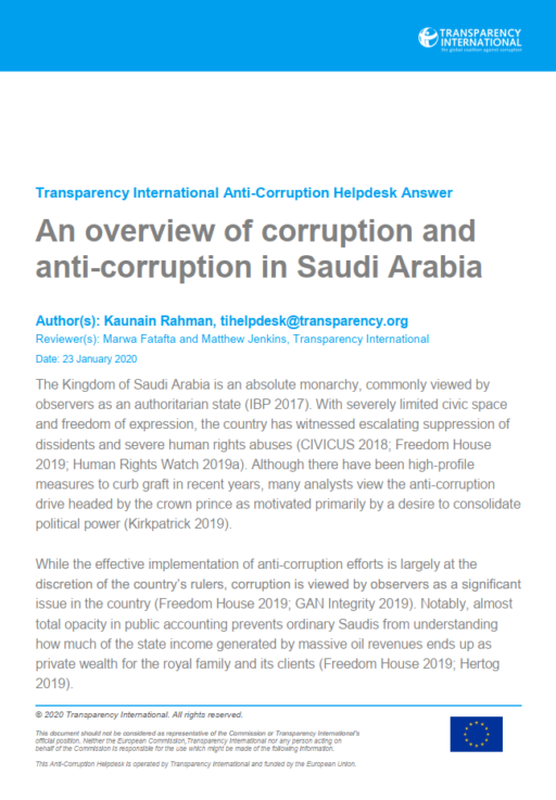Saudi Arabia: an overview of corruption and anti-corruption