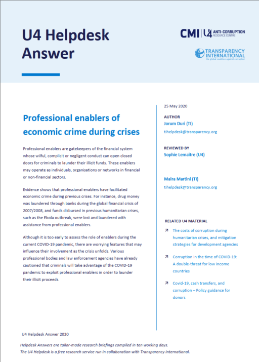 Professional enablers of economic crime during crises