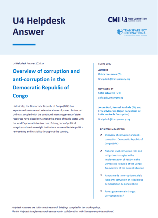 Overview of corruption and anti-corruption in the Democratic Republic of Congo