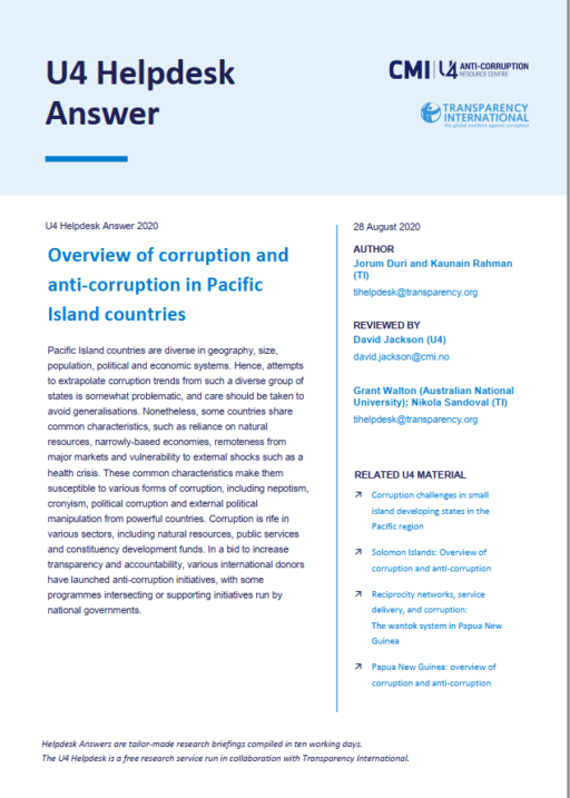 Overview of corruption and anti-corruption in Pacific Island countries