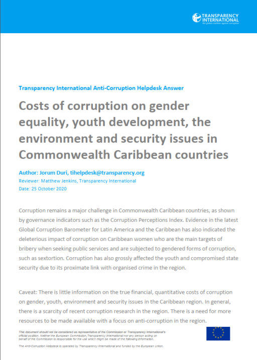 Costs of corruption on gender equality, youth development, the environment and security issues in Commonwealth Caribbean countries