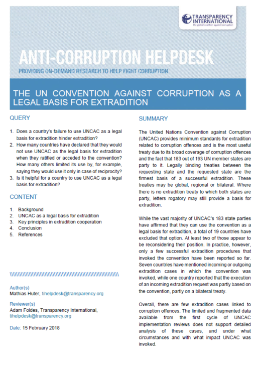 ​ The UN Convention Against Corruption as a Legal Basis for Extradition