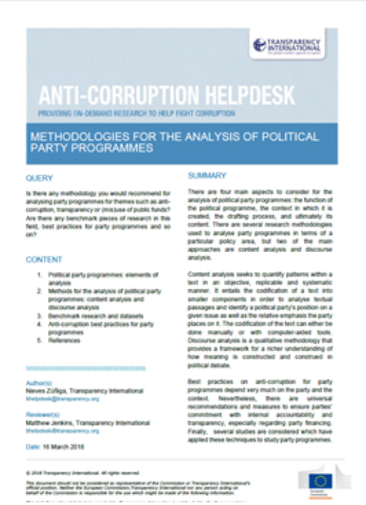 Methodologies for the analysis of political party programmes