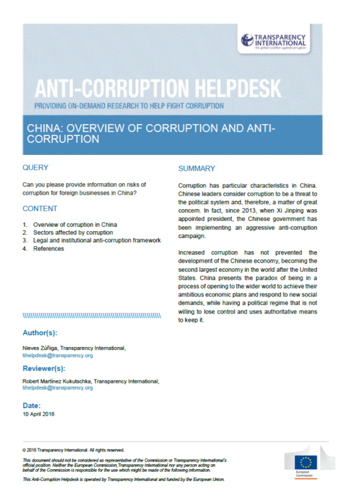China: Overview of Corruption and Anti-Corruption