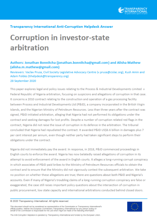 Corruption in investor-state arbitration