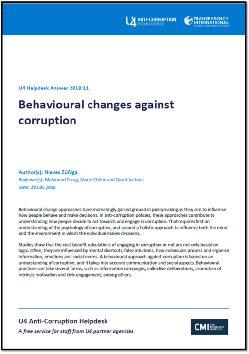 Behavioural changes against corruption