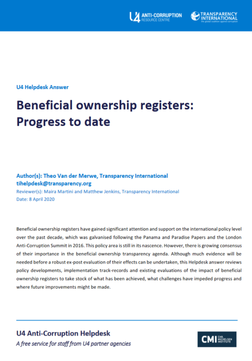Beneficial ownership registers: Progress to date