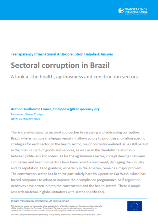 Sectoral corruption in Brazil: A look at the health, agribusiness and construction sectors