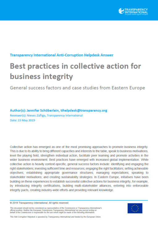 Best practices in collective action for business integrity