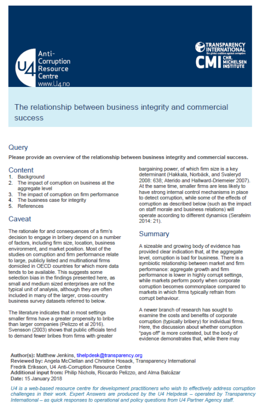 The relationship between business integrity and commercial success