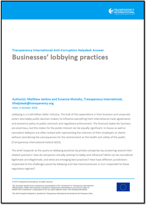 Businesses' lobbying practices