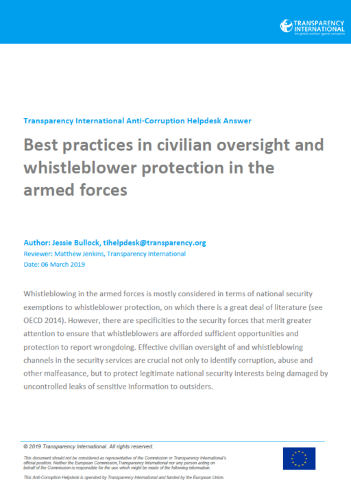 Best practices in civilian oversight and whistleblower protection in the armed forces