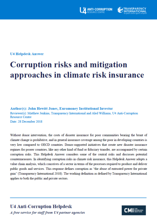 Corruption risks and mitigation approaches in climate risk insurance