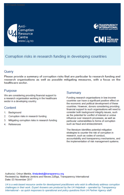Corruption risks in research funding in developing countries
