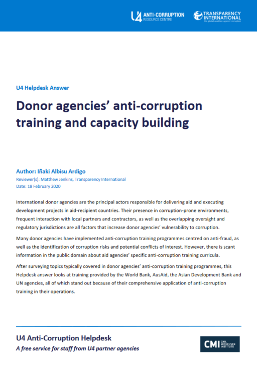 Donor agencies' anti-corruption training and capacity building