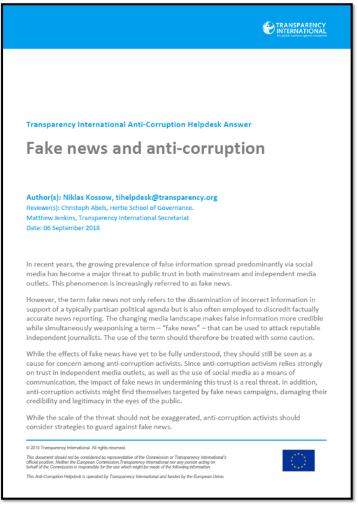 Fake news and corruption