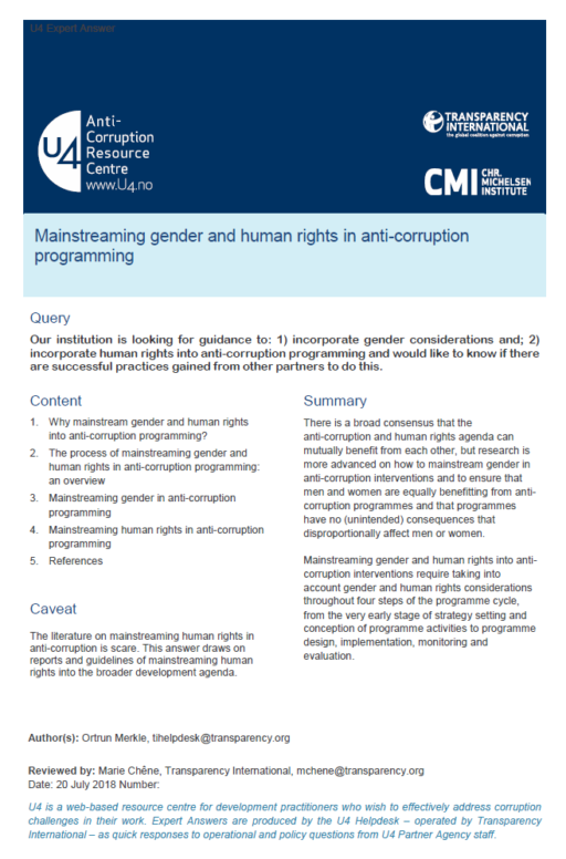 Mainstreaming gender and human rights in anti-corruption programming