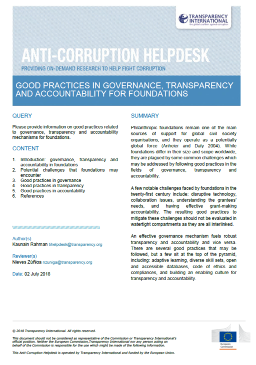 Good practices in governance, transparency and accountability for foundations