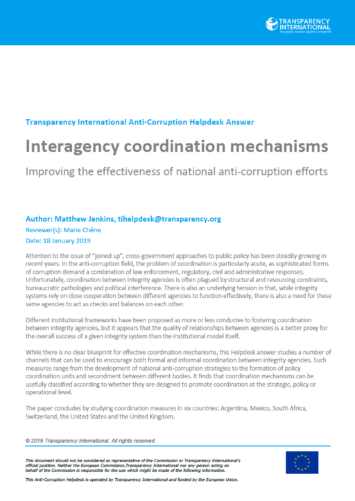 Interagency coordination mechanisms: improving the effectiveness of national anti-corruption efforts