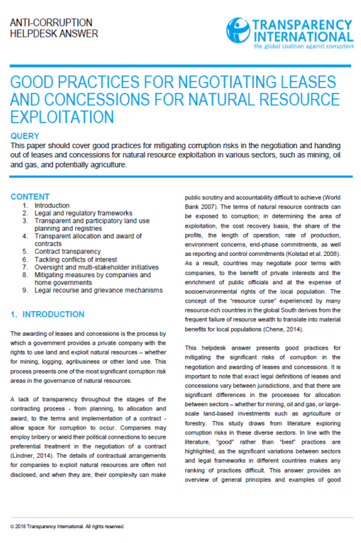 Good practices for negotiating leases and concessions for natural resource exploitation