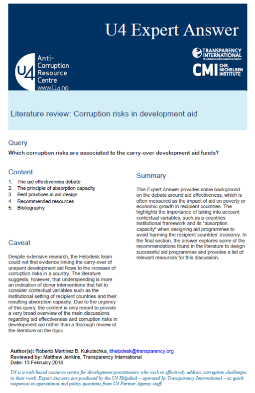 Literature review: Corruption risks in development aid